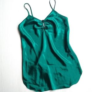 Vintage emerald green silky chemise slip